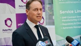Federal Health Minister Greg Hunt at Peter Mac on Tuesday, 28 January 2020